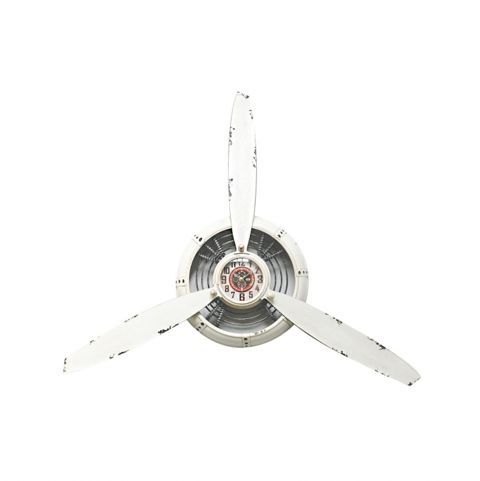 Ceas de perete, metalic, forma de elice, analog, alb - 67cm 0