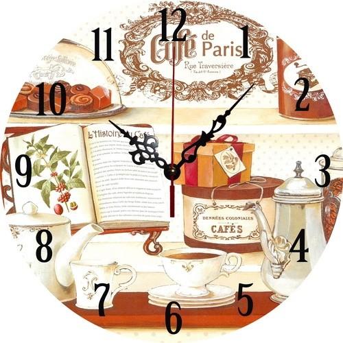 Ceas de perete, analog, rotund, lemn - 34cm 0