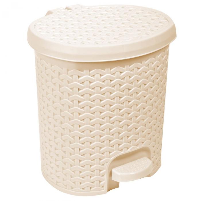 Coș de gunoi din plastic-crem-5.5 l 0