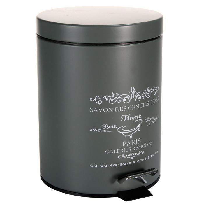Coș de baie gri metalizat cu scris-5l 0