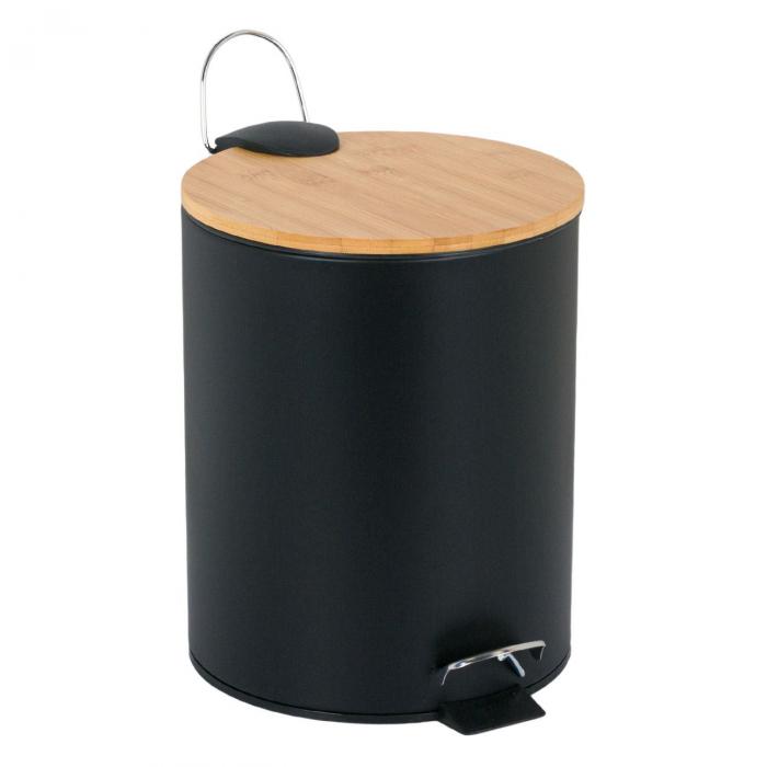 Coș pentru baie metalic-capac negru din bambus-5 lt 0