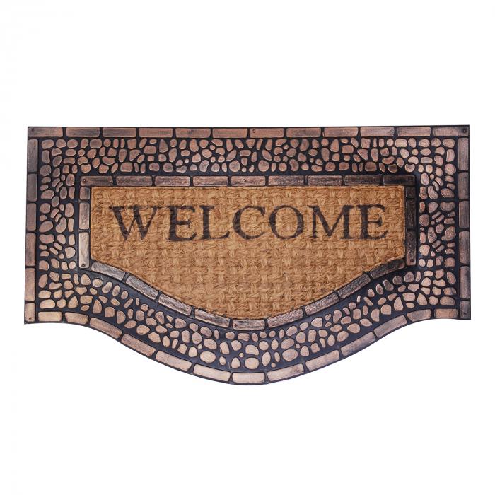 """Covor de usa cu reliefuri pietre de bronz """"Welcome"""" 75x45 cm 0"""