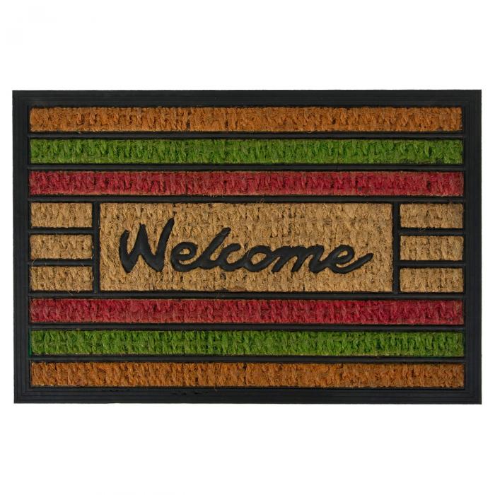 "Covor de usa cu dungi colorate Mesaj ""Welcome"" 60x40 cm 0"