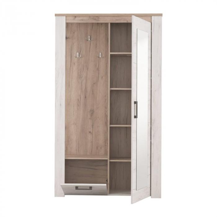 Cuier hol Amara cu 7 agățători, oglindă, dulap, comodă, 2 uși 114x195cm 1