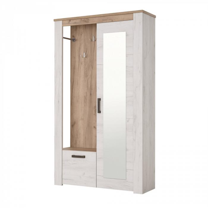 Cuier hol Amara cu 7 agățători, oglindă, dulap, comodă, 2 uși 114x195cm 2
