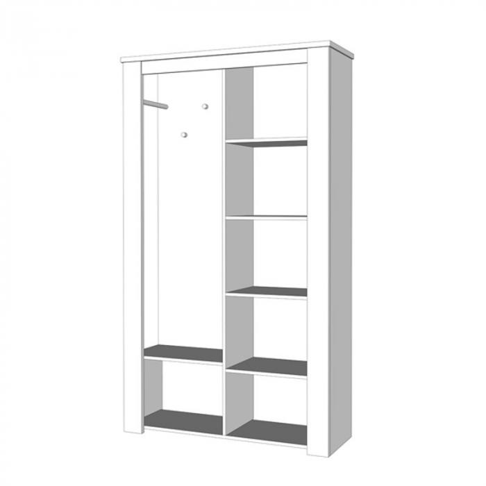 Cuier hol Amara cu 7 agățători, oglindă, dulap, comodă, 2 uși 114x195cm 4