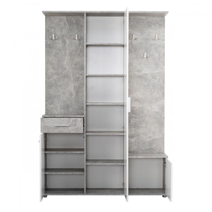 Cuier hol Calista cu 10 agățători, oglindă, dulap și comodă, beton + alb cu 3 uși ,134x200cm [1]