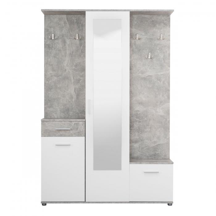 Cuier hol Calista cu 10 agățători, oglindă, dulap și comodă, beton + alb cu 3 uși ,134x200cm [0]