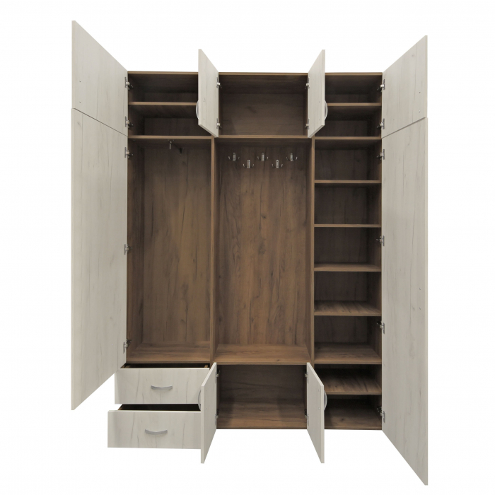 Cuier hol Cora cu 11 agățători, dulap și sertare, 8 uși 160x220cm 1