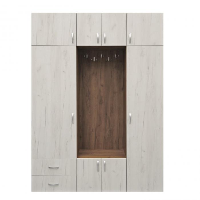 Cuier hol Cora cu 11 agățători, dulap și sertare, 8 uși 160x220cm 0