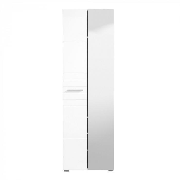 Cuier hol Danae cu 5 agățători, oglindă, dulap și comodă, stejar gri + alb lucios, 4 uși 140x192cm [1]