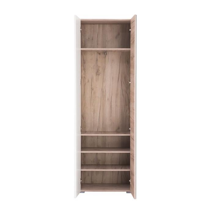 Cuier hol Danae cu 5 agățători, oglindă, dulap și comodă, stejar gri + alb lucios, 4 uși 140x192cm [3]