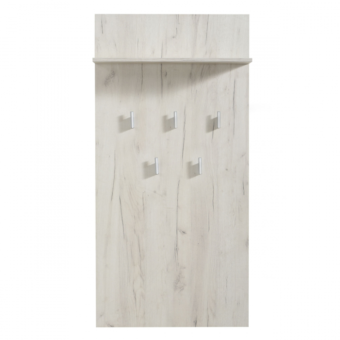 Cuier hol Hera pentru perete cu 5 agățători, stejar alb 67x137cm [0]