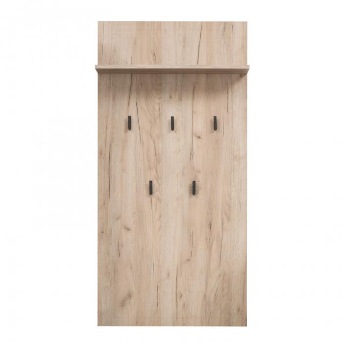 Cuier hol Maya pentru perete cu 5 agățători, stejar gri, 67x137cm 0