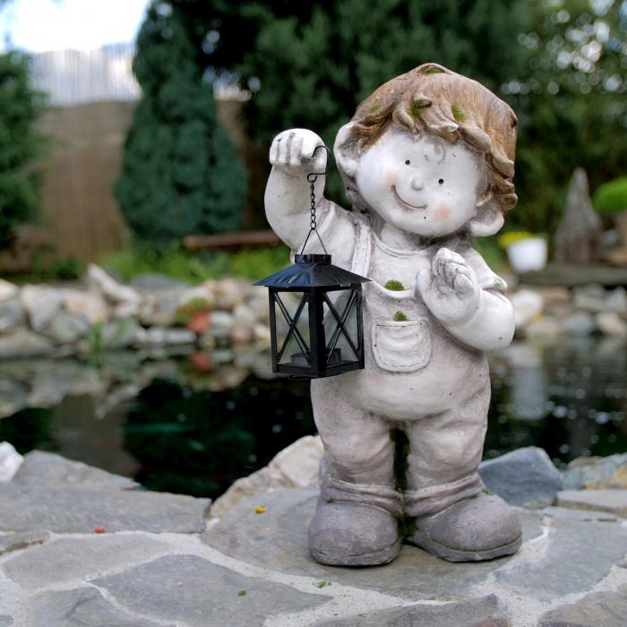 Decorațiune grădină, ceramică, băiat cu felinar 5
