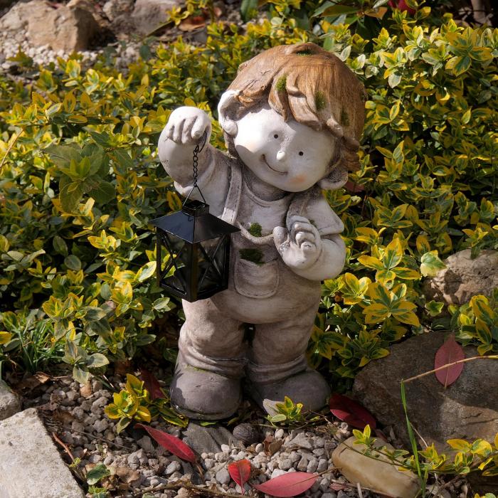 Decorațiune grădină, ceramică, băiat cu felinar 3