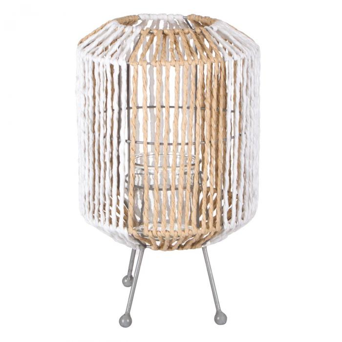 Lampă decorativă cu picioare metalice,tricotată,alb-bej 19x31 cm 0