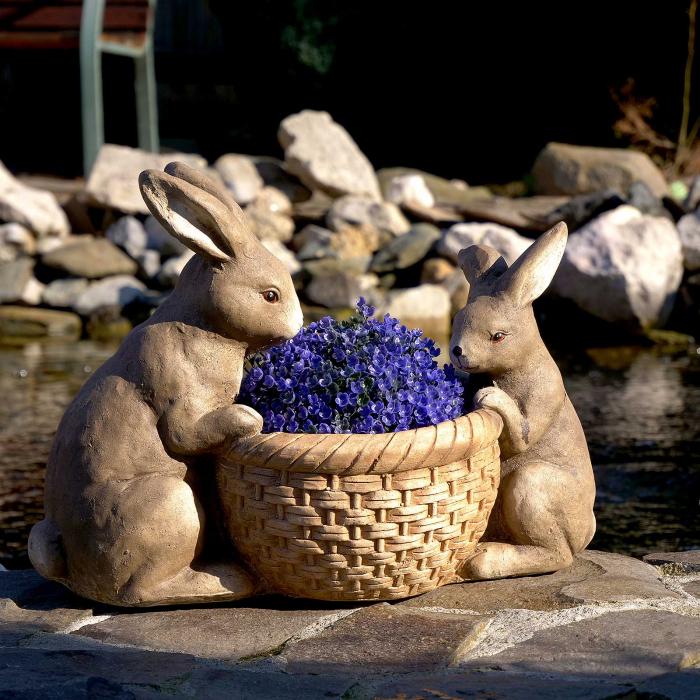 Ghiveci decorativ, ceramică, iepurași, 42 x 21 x 30 cm 2