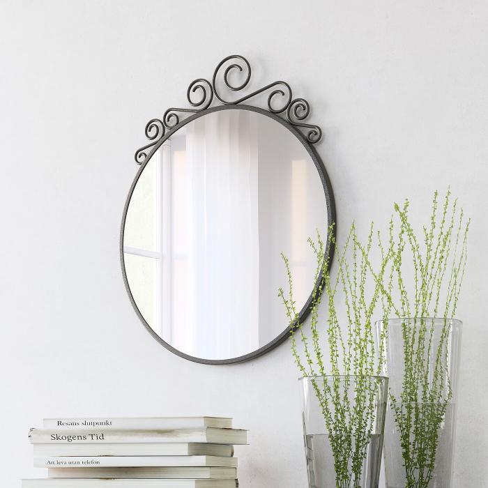 Oglindă otel, rotunda 50x60 cm [0]