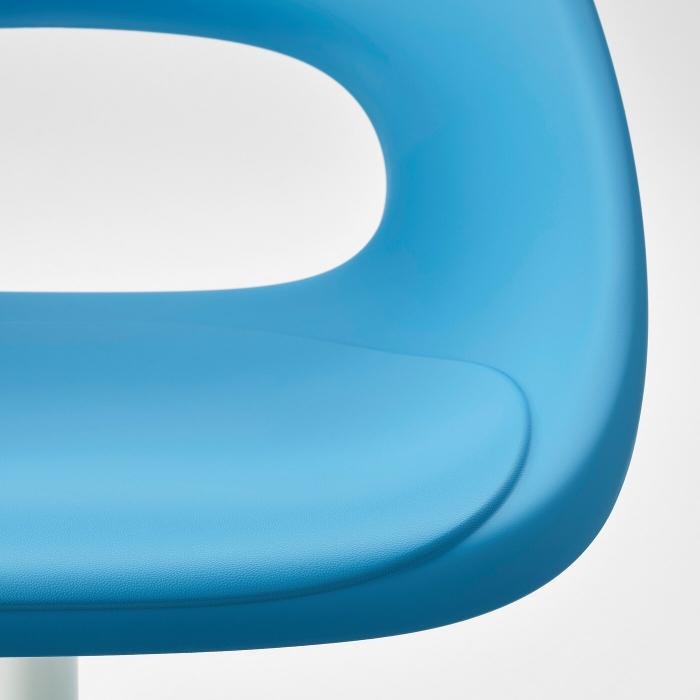 Scaun rotativ, albastru, alb 2