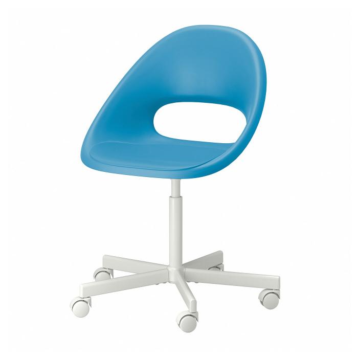 Scaun rotativ, albastru, alb 4