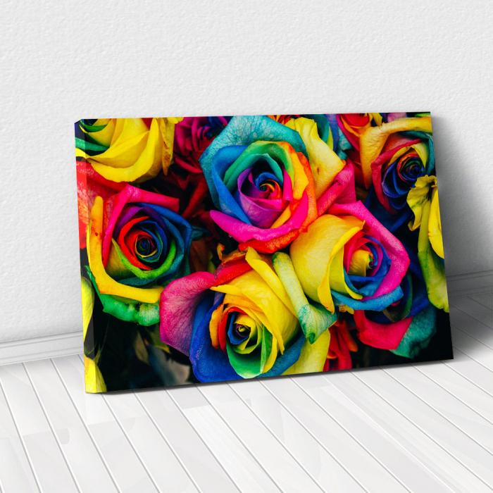 Tablou Canvas - Rainbow Roses 0