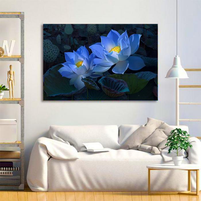 Tablou Canvas - Floral blue 1