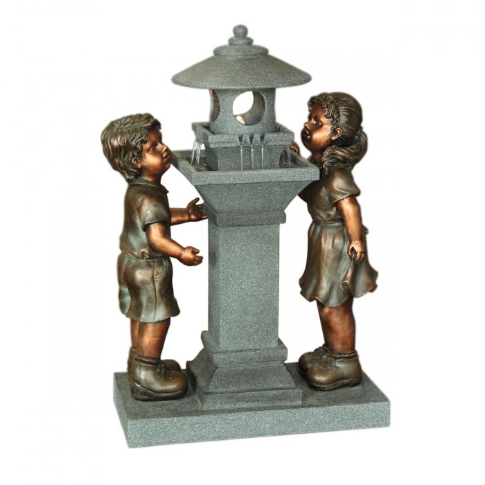 Fântână arteziană cu pompă recirculare apă,fetiță & băiețel,54 x 26 x 76.5 cm [0]