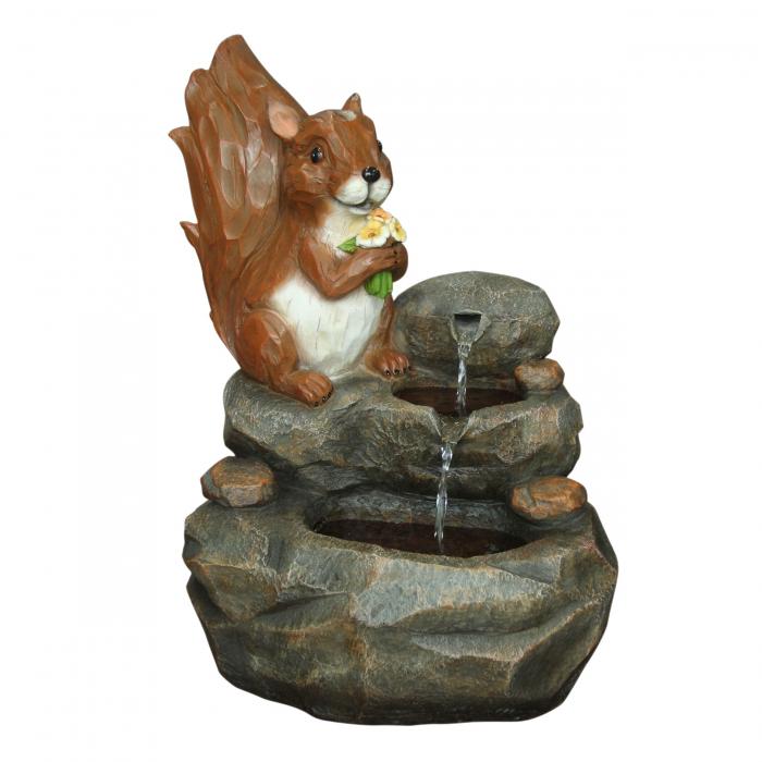 Fântână arteziană veveriță,decorațiune grădină, cu pompă recirculare apă, 42.5 x 31 x 56.5 cm 0