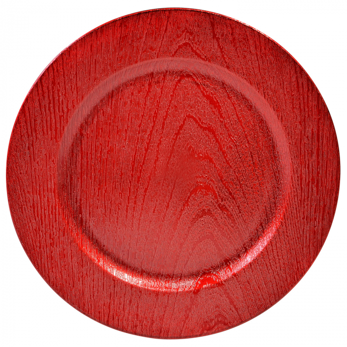 Farfurie decorativă din plastic, roșie - 33cm 0