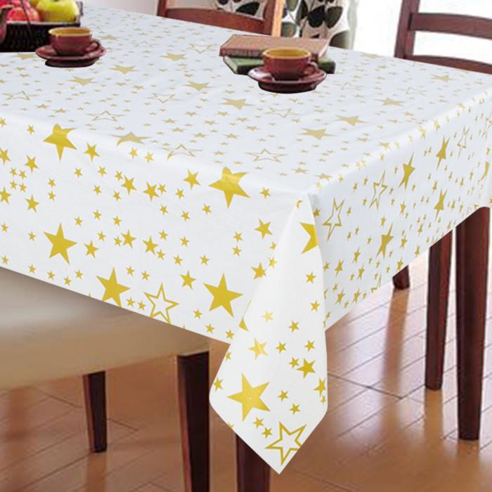 Față de masă cu stele,culoare aurie-bej,170x130 cm 0