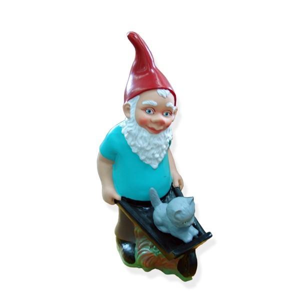 Figurină pitic cu roabă,din PVC, decorațiune grădină,42 cm 0