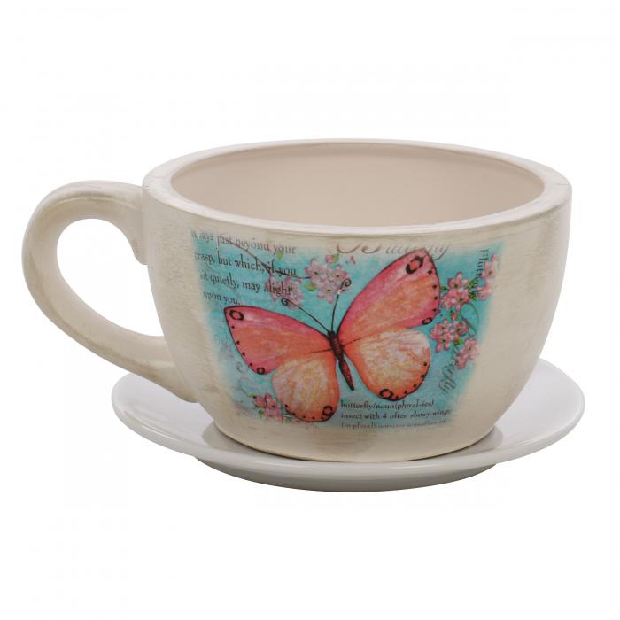 Ghiveci ceramic cană cu suport, rotund, 19 x 12 cm 0