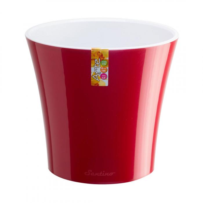 Ghiveci din plastic, cu sistem de autoudare, roșu-alb, 5 l, D 22 cm [0]