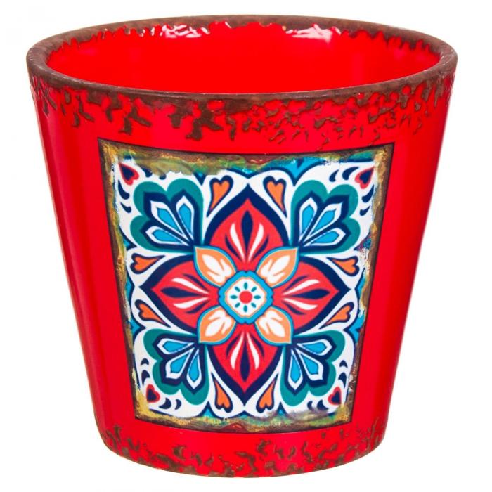 Ghiveci ceramic roșu cu model-13x21 cm [0]