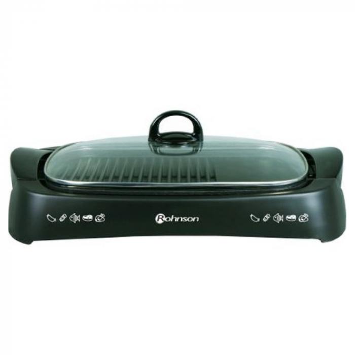 Grătar electric,plita tip grill neaderentă, capac de sticlă 0