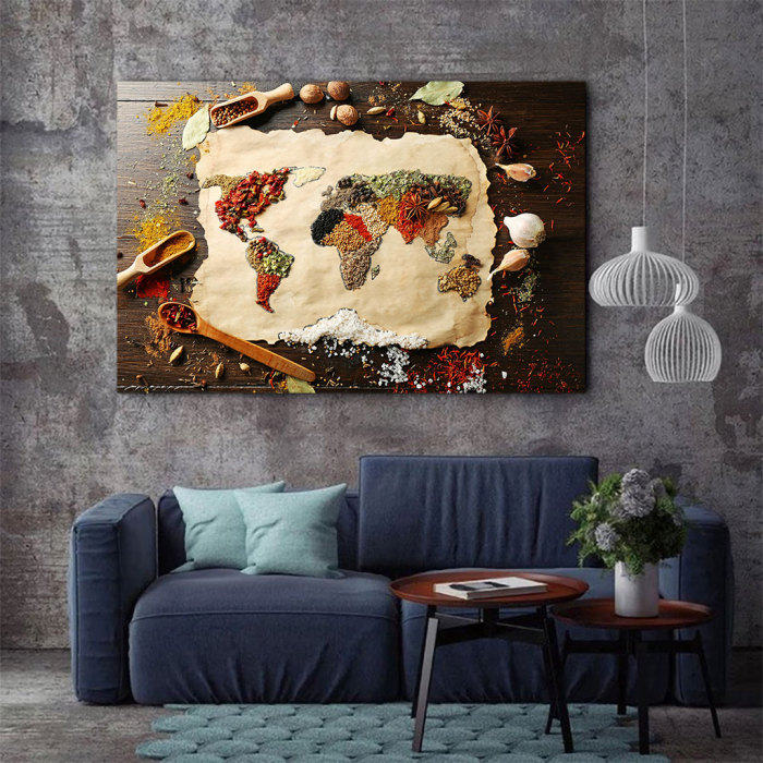 Tablou Canvas - Spices world map 1