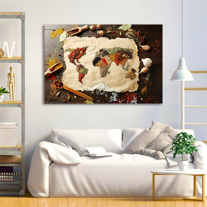 Tablou Canvas - Spices world map 3