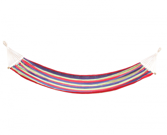 Hamac roșu albastru cu bare din lemn-80 x 200 cm 0