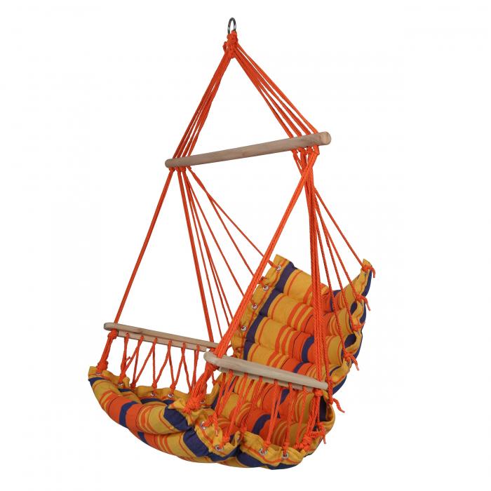 Hamac colorat de tip scaun cu bară din lemn.90 x 65 cm 0