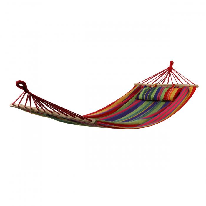 Hamac cu bare din lemn și pernă colorată. 100/80 x 200 cm. 0