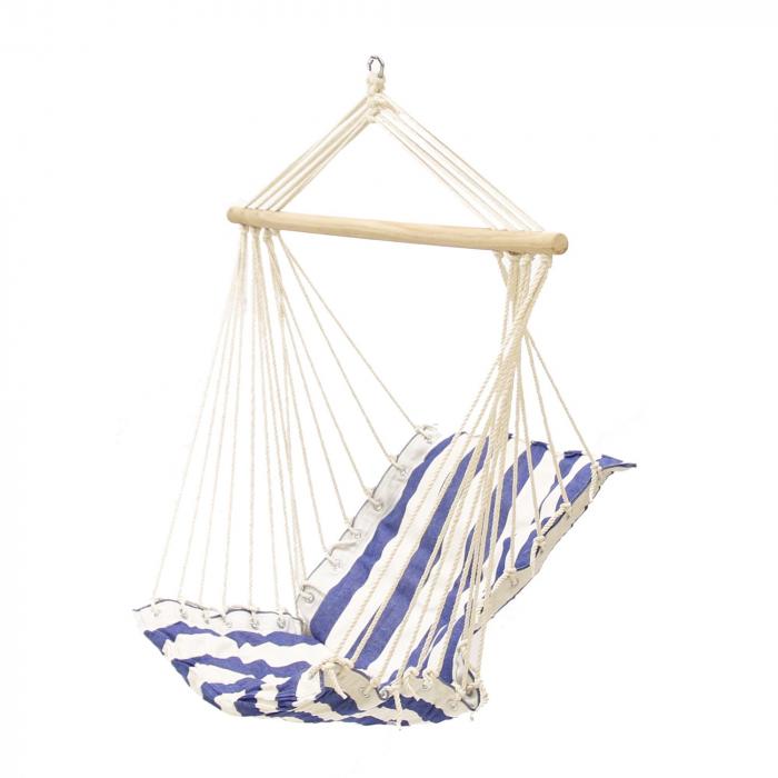 Hamac tip scaun,90 x 55 cm, alb/albastru 0