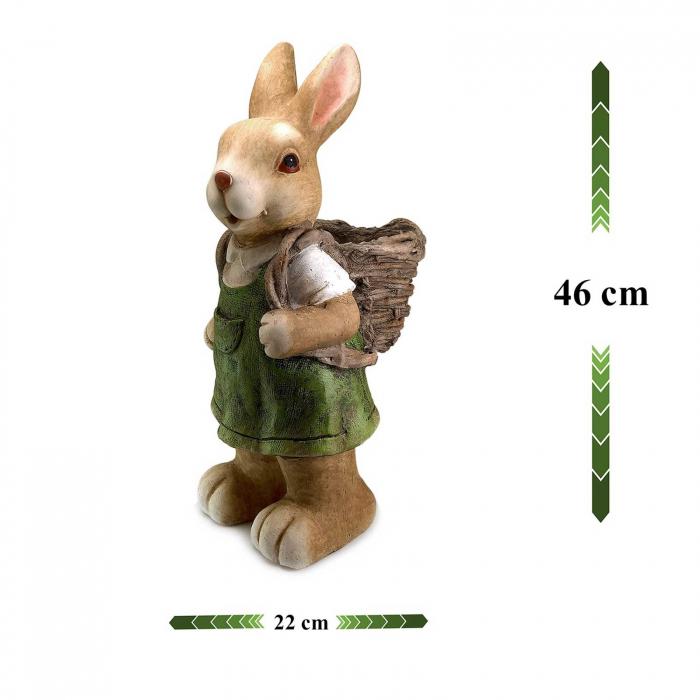 Ghiveci decorativ iepure cu coș, ceramică, 22 x 18.5 x 46 cm 2
