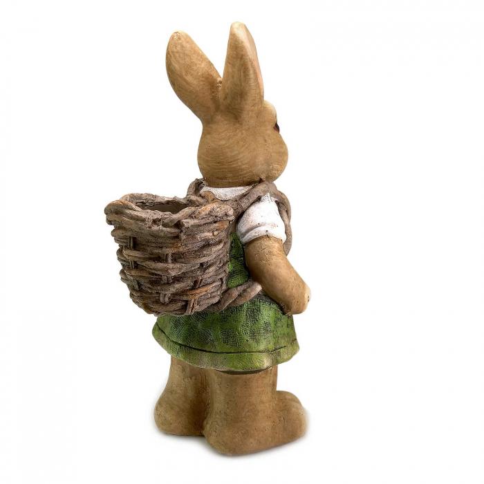 Ghiveci decorativ iepure cu coș, ceramică, 22 x 18.5 x 46 cm 1