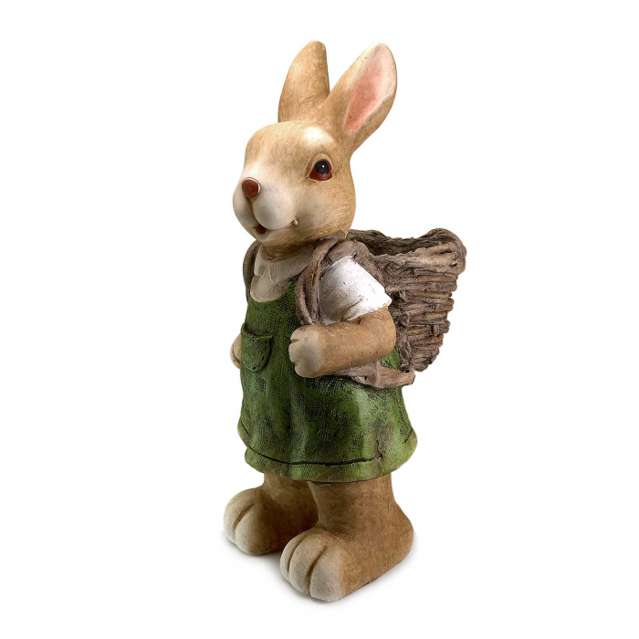 Ghiveci decorativ iepure cu coș, ceramică, 22 x 18.5 x 46 cm 0