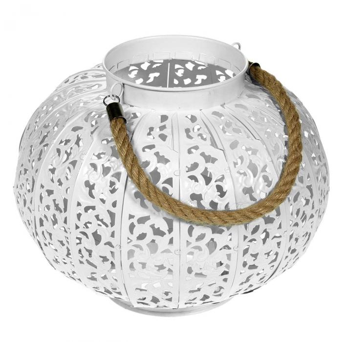 Lampă decorativă albă, grădină, cu funie,20,5x24 cm 0