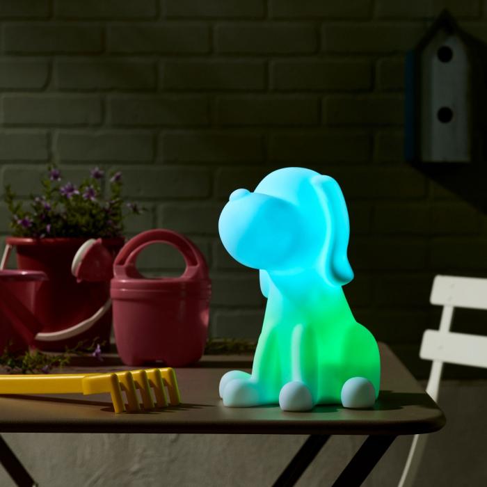 Decorațiune solară LED, albă,câine în culori 0