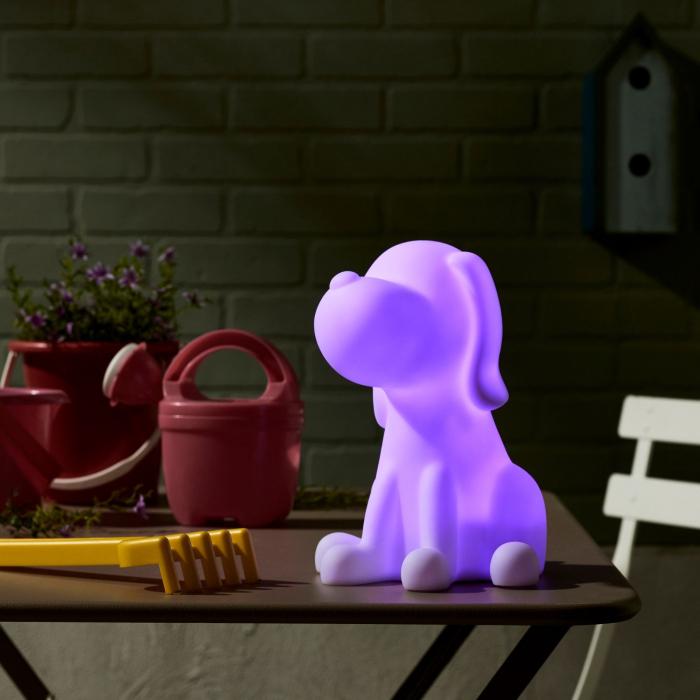 Decorațiune solară LED, albă,câine în culori 2