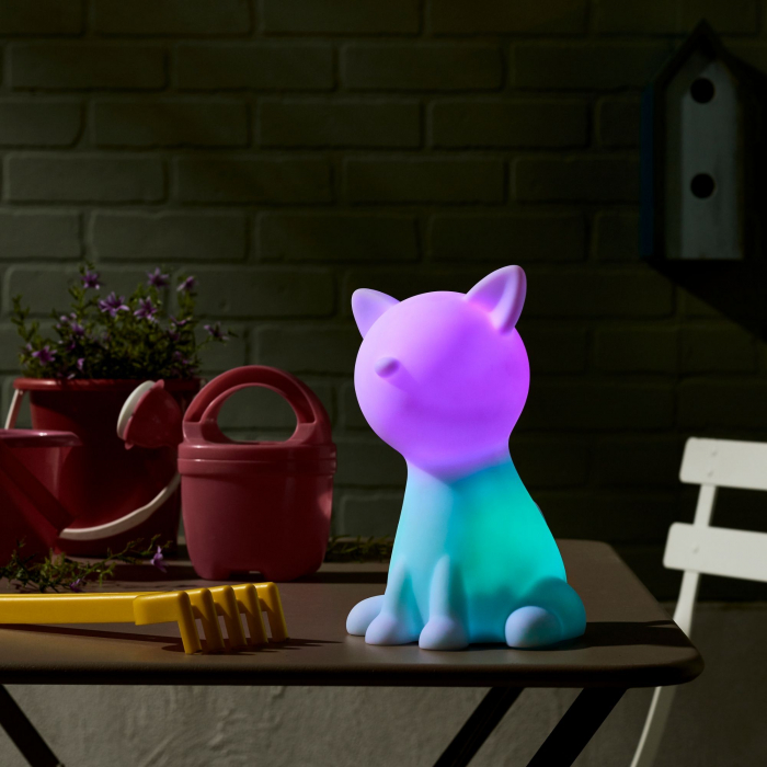 Decorațiune solară LED, albă,pisică în culori 1