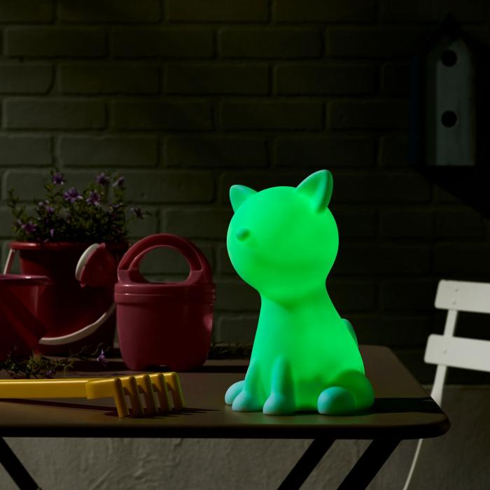 Decorațiune solară LED, albă,pisică în culori 3